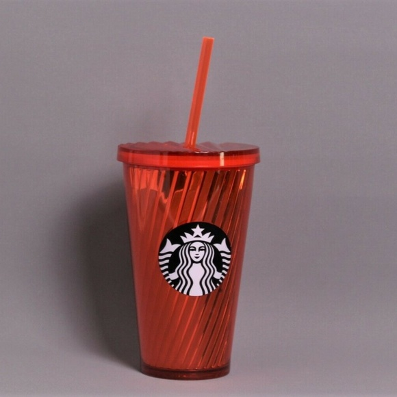eab3c139f14 Starbucks Accessories | Orange Shiny Spiral Tumbler Cup 16 Oz | Poshmark